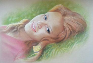 Настоящий портрет пастелью для любимой девушки в Сочи, просто и со вкусом!