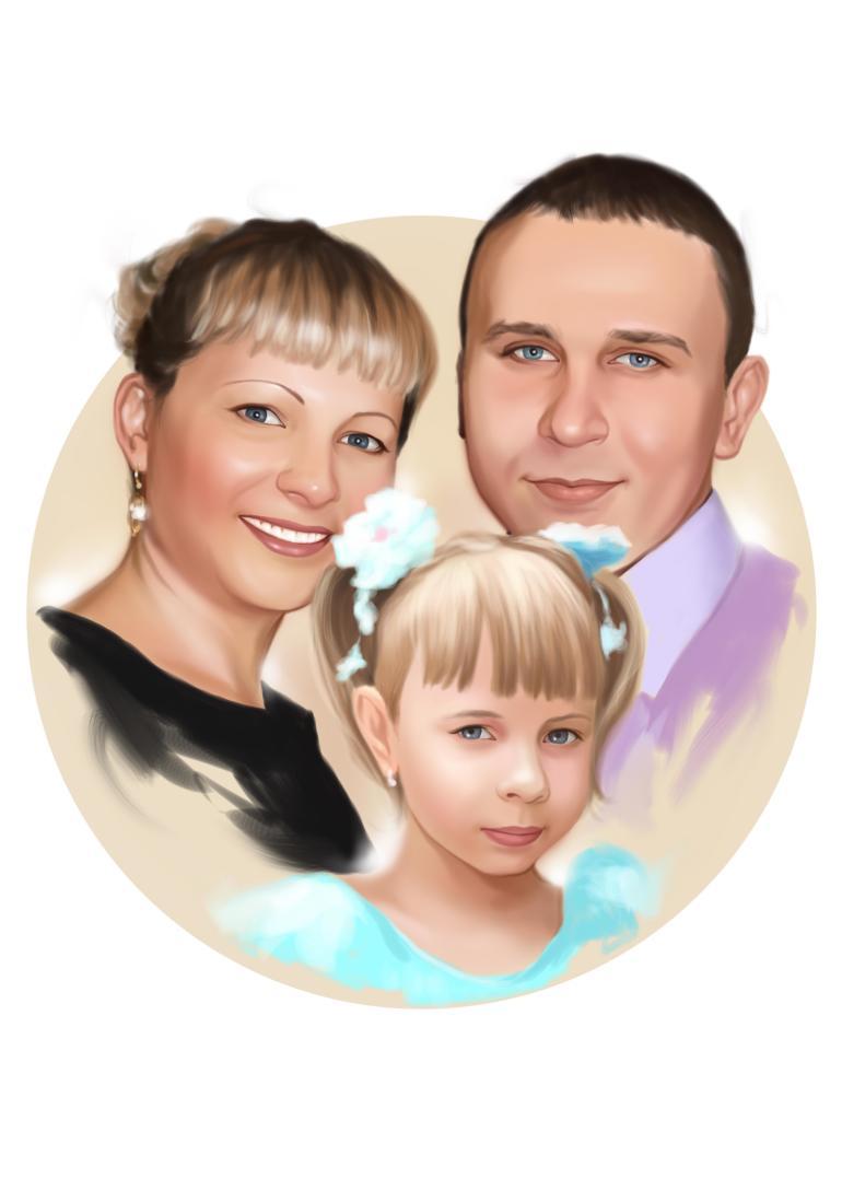 Семейный портрет по фото на холсте в Сочи — правильный подарок!