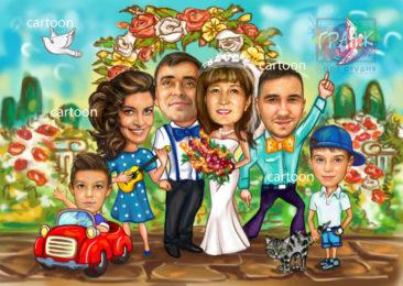 Шарж по фото на годовщину свадьбы на заказ в Сочи…